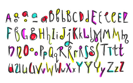 Doodle colorful kids alphabet, vector hand drawn letters and figures decorated with colored floral and ethnic style elements. For kids books, posters, postcard typography Ilustrace