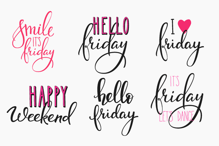 it's: Hello Friday lettering sign quote postcard set. Motivational quote. Weekend inspiration typography. Calligraphy postcard poster graphic design element Hand written sign Decoration Happy weekend