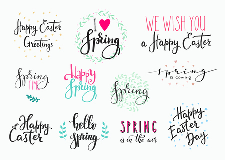 easter sign: Hello spring Happy Easter sign lettering typography set. Calligraphy spring postcard or poster graphic design lettering element. Hand written calligraphy style spring postcard. Cute Vector calligraphy