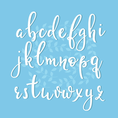 handwritten: Handwritten brush style modern calligraphy cursive font with flourishes. Calligraphy alphabet. Cute calligraphy letters. For postcard or poster decorative graphic design. Isolated letter elements.