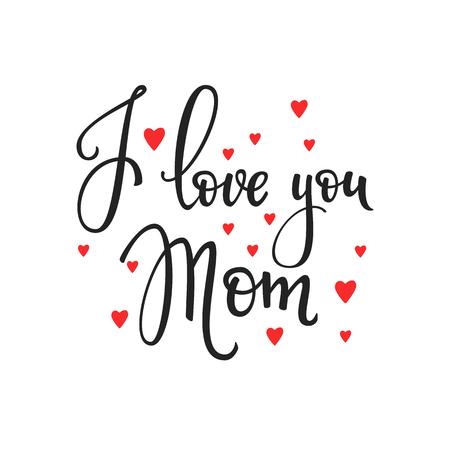 love mom: Happy Mothers day simple typography. Calligraphy postcard or poster graphic design lettering element. Hand written calligraphy Mothers Day postcard design. Photography overlay. Love Mom day lettering