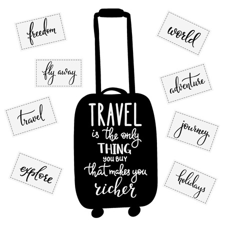richer: Travel inspiration quotes lettering. Travel only thing you can buy that makes you richer. Motivational quote typography Calligraphy graphic design element Hand written calligraphy style signs stickers