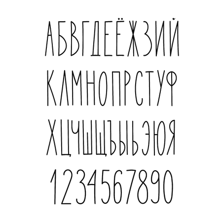 russian: Doodle russian cyrillic narrow alphabet, vector simple hand drawn letters thin san serif marker font. Decorative font for books, posters, postcard, web hand drawn style typography.