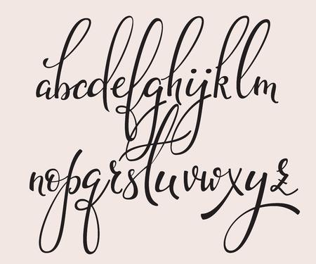 Handgeschreven borstel stijl modern kalligrafie cursieve doopvont met bloeit. Kalligrafie alfabet. Leuke kalligrafie letters. Voor ansichtkaart of poster decoratief grafisch ontwerp. Geïsoleerde letter elementen. Stock Illustratie