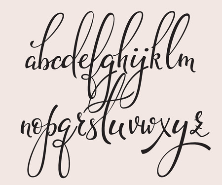 cursive: Handwritten brush style modern calligraphy cursive font with flourishes. Calligraphy alphabet. Cute calligraphy letters. For postcard or poster decorative graphic design. Isolated letter elements.