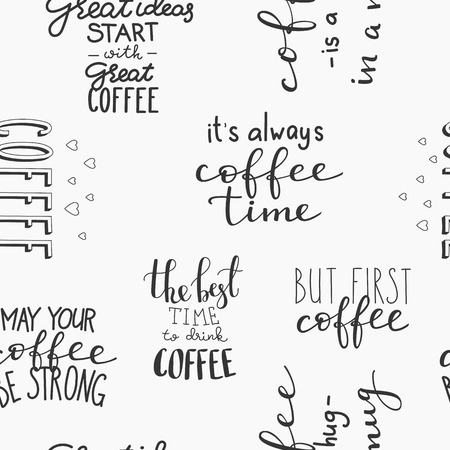 great coffee: Quote coffee vector seamless pattern typography set. Calligraphy style coffee shop promotion motivation. Graphic design lettering. Sketch coffee mug inspiration wrapping paper background shopping