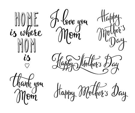 love mom: Happy Mothers day simple lettering. Calligraphy postcard or poster graphic design lettering element. Hand written calligraphy Mothers Day postcard design. Photography overlay. I love Mom Thank you Mom