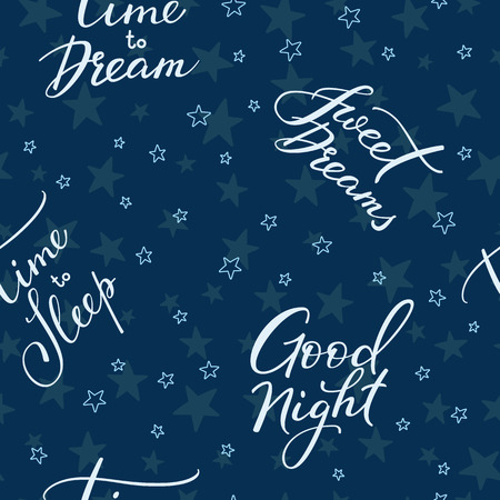 good nature: Good night lettering seamless pattern. Motivational quote. Sweet cute inspiration typography. Calligraphy postcard poster graphic design pattern element. Hand written sign. Stars decoration element