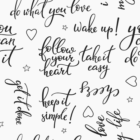 phrases: Lettering seamless pattern positive words. Sweet cute inspiration typography. Calligraphy postcard photo graphic design element. For textile, wrapping paper, hand drawn style backgrounds