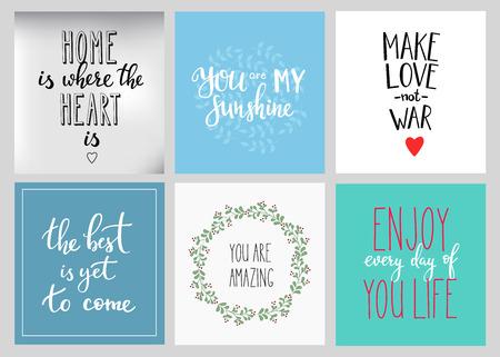 hacer el amor: cotizaciones de las letras tarjetas postales establecido. cita de motivación. tipografía inspiración dulce lindo. Caligrafía foto elemento de diseño gráfico. Muestra de la mano escrito. Mi sol Disfruta de cada día corazón Inicio Haga la guerra del amor