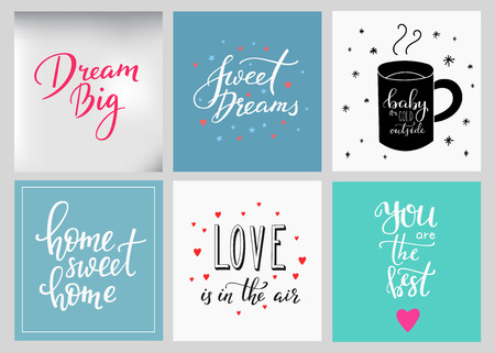 Lettering postcard quotes set. Motivational quote. Sweet cute inspiration typography. Calligraphy photo graphic design element. Hand written sign. Baby cold Sweet dreams Love air Home sweet home