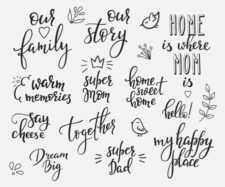 Lettering photography overlay set. Motivational quote. Sweet cute inspiration typography. Calligraphy photo graphic design element. Hand written sign. Love story wedding family album decoration.  イラスト・ベクター素材