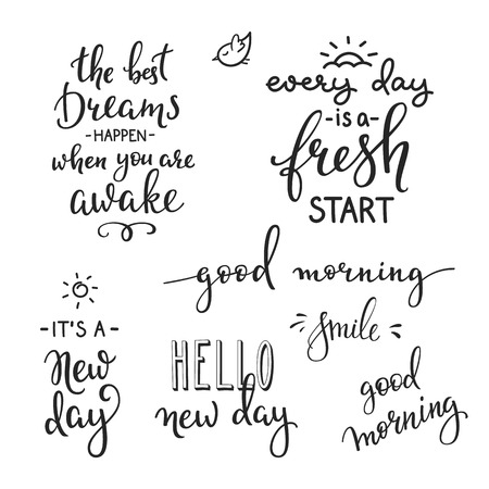 Lettering quotes set motivation for life and happiness. Calligraphy Inspirational quote. Morning motivational quote design. For postcard poster graphic design. Every Day is a Fresh Start. Good morning  イラスト・ベクター素材