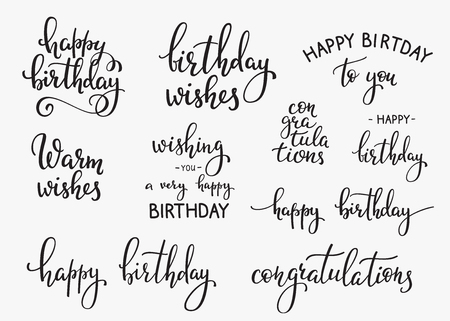 typography: Happy Birthday lettering sign quote typography set. Calligraphy design for postcard poster graphic design. Simple vector brush calligraphy. Happy Birthday card design elements. Birthday party decor.