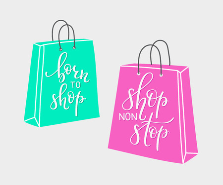shopping bag: Lettering on shopping bag shape. Vector quote about shopping. Postcard or poster graphic design for retail. Black friday sale. Shop non stop. Born to  shop. Hand written sign. Decoration element.