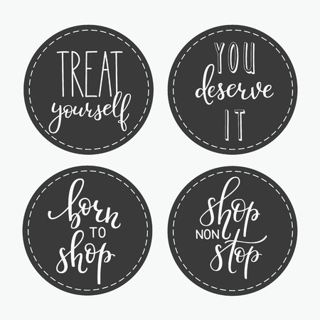 deserve: Shopping retail sticker lettering set. Calligraphy label graphic design lettering element. Hand written calligraphy style signs. Hand craft decoration element. Treat yourself. You deserve it Born Shop