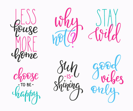vibes: Lettering vector postcard quotes set. Motivational quote. Cute inspiration typography. Calligraphy photo graphic design element. Hand written sign. Stay wild House more Home. Sun is shining Good vibes
