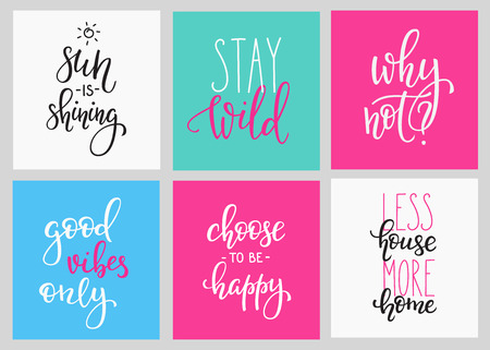 happy house: Lettering vector postcard quotes set. Motivational quote. Cute inspiration typography. Calligraphy photo graphic design element. Hand written sign. Choose happy House more Home. Sun shining Good vibes Illustration