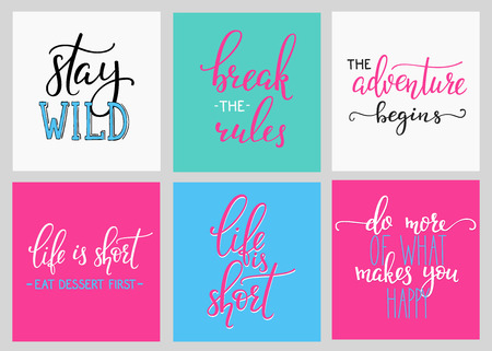 break the rules: Lettering vector postcard quotes set. Motivational quote. Cute inspiration typography. Calligraphy graphic design element. Hand written sign. Break rules. Adventure begins. Do more Happy. Life short