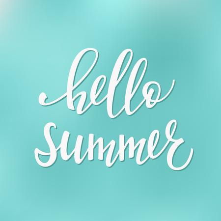 postcard design: Hello Summer lettering. Calligraphy summer postcard or poster graphic design typography element. postcard. Cute simple brush sign.
