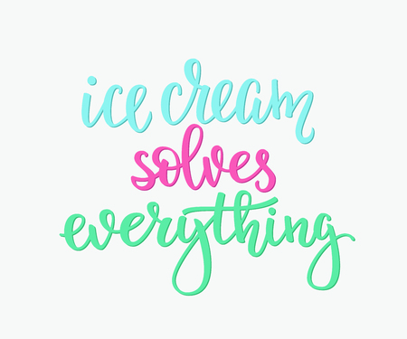 gelato: Ice cream solves everything quote lettering. Calligraphy inspiration graphic design typography element. Hand written style card. Cute simple vector sign. Gelato shop promotion motivation advertising. Illustration