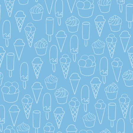 Ice cream cute seamless vector pattern. Hand drawn set for textile or wrapping paper postcard poster graphic design for gelato shops.