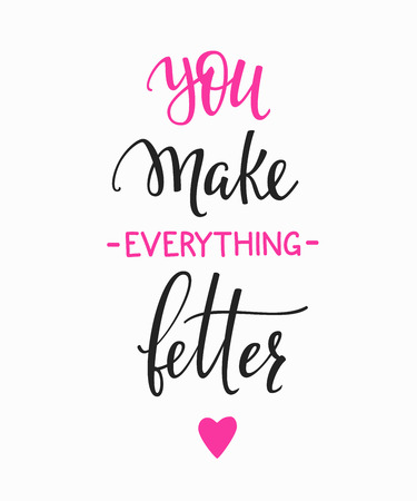 faire l amour: Amitié Famille et romantique amour lettrage. carte postale de calligraphie ou une affiche conception graphique élément de typographie. Main valentines vecteur écrits jour carte postale. Vous faites tout mieux