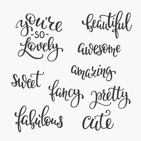 cute graphic: Friendship Family Romantic love lettering. Calligraphy postcard graphic design typography. Hand written vector postcard. You are so cute lovely sweet awesome beautiful amazing fancy pretty fabulous Illustration