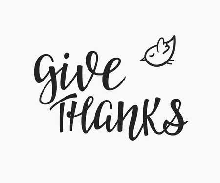 give thanks to: Thank you Friendship Family Positive quote thanksgiving lettering. Calligraphy postcard or poster graphic design typography element. Hand written vector valentines day postcard. Give thanks