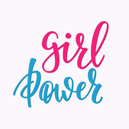 postcard design: Friendship Family Girl Positive quote lettering. Calligraphy postcard or poster graphic design typography element. Hand written vector postcard. Girl Power
