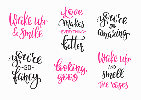 wake up: Friendship Family Romantic love lettering set. Calligraphy postcard graphic design typography. Hand written vector postcard. You are so amazing fancy. Wake up and smile. Loking good. Love makes better Illustration