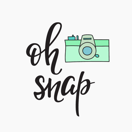 snap: Oh snap Photo Booth Vintage old camera. Calligraphy style quote about photography. Photo Party motivation. Calligraphy design postcard poster graphics. Simple vector brush sign