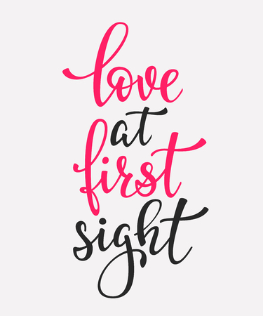 love at first sight: Romantic Valentines day lettering set. Calligraphy postcard or poster graphic design lettering element. Hand written calligraphy style valentines day romantic postcard. Love at first sight