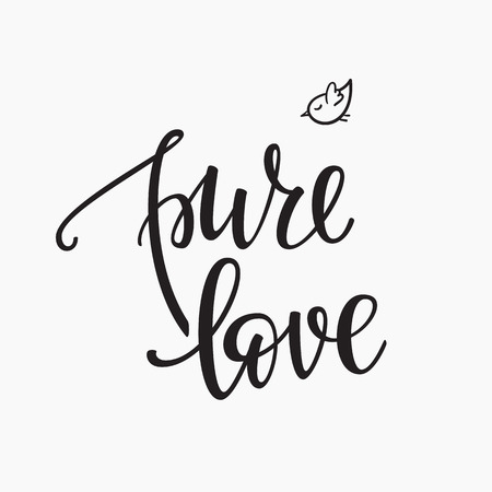 pure element: Lettering photography family overlay set. Motivational quote. Sweet cute inspiration typography. Calligraphy card poster graphic design element. Hand written sign. Baby photo album. Pure Love Illustration