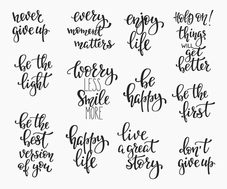 Positive quote lettering set. Calligraphy postcard graphic design typography element. Hand written vector simple cute inspirational sign postcard. Be Happy. Worry, Smile. Enjoy life. Never give up
