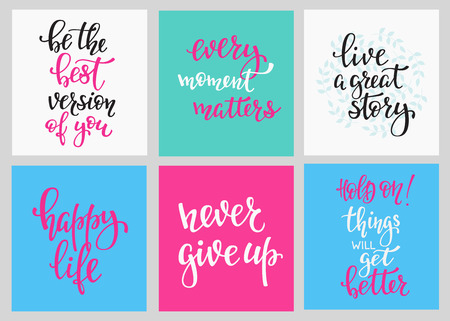 Lettering vector postcard quotes set. Motivational cute inspiration typography. Calligraphy photo graphic design element. Hand written sign. Every moment matters Give up Live great story Happy life Stock Illustratie