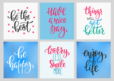 nice smile: Lettering vector postcard quotes set. Motivational Sweet cute inspiration typography. Calligraphy photo graphic design element. Hand written sign. Have nice day Things get better Be best Worry Smile Illustration