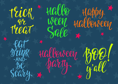 postcard design: Happy Halloween Party simple lettering set. Calligraphy postcard or poster graphic design lettering element. Hand written postcard design.