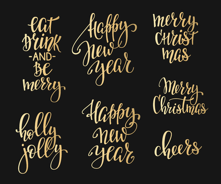 cheers: Merry Christmas Happy New Year simple lettering set. Calligraphy postcard or poster graphic design lettering element. Hand written postcard design. Photo overlay Winter Holidays sign detail. Cheers