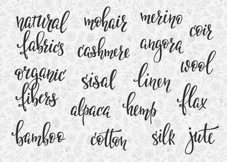 cashmere: Natural fibers types lettering set. Sewing studio calligraphy graphic design typography element. Hand written calligraphy signs. Cute simple. Organic Fabrics linen cotton silk cashmere alpaca