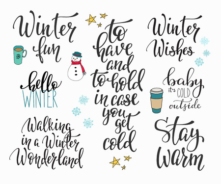 cold season: Season life style inspiration quotes lettering. Motivational typography. Calligraphy graphic design element. Winter sign set. Stay warm Wishes Hello Snowman Baby cold outside Walking Wonderland