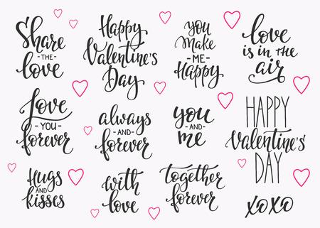로맨틱 문자 집합입니다. 서예 엽서 또는 포스터 그래픽 디자인 타이포그래피 요소입니다. 서면 스타일 해피 발렌타인 기호입니다. 공중에 사랑 당신은 영원히 함께 나를 행복하게 스톡 콘텐츠 - 68126123