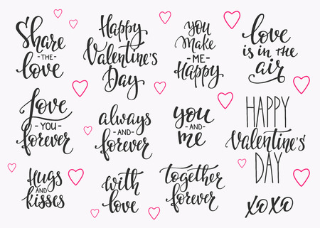 Romantic lettering set. Calligraphy postcard or poster graphic design typography element. written style happy valentines day sign. Love in the air You make me happy Together forever