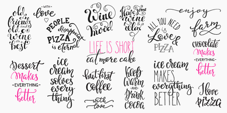 Lettering food beverage drink photography overlay typography set. Calligraphy style quote. Shop promotion motivation. Graphic design lifestyle lettering. Cafe restaurant inspiration promotion . Illustration