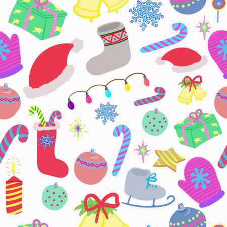 gift season: Winter doodles drawn seamless pattern season, new years holidays, decoration, Santa hat. Christmas gift. Textile, wrapping paper, designe style backgrounds