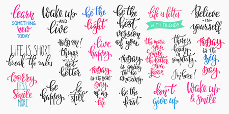 Lettering photography overlay set. Motivational quote. Sweet cute inspiration typography. Calligraphy photo graphic design element. Hand written sign. Love story wedding family album decoration. Stock Illustratie