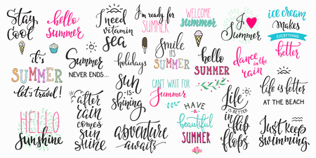 summer sign: Hello summer lettering typography quote set. Calligraphy graphic design element. Hand written style. Simple vector brush sign. Stay cool Adventure awaits Ice cream Smile Travel Vitamin sea Flip flops