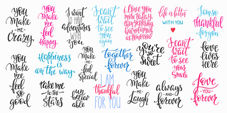 Romantic lettering set. Calligraphy postcard or poster graphic design typography element. Hand written vector style happy valentines day sign. Always Together forever Make me crazy Love you Happiness 版權商用圖片