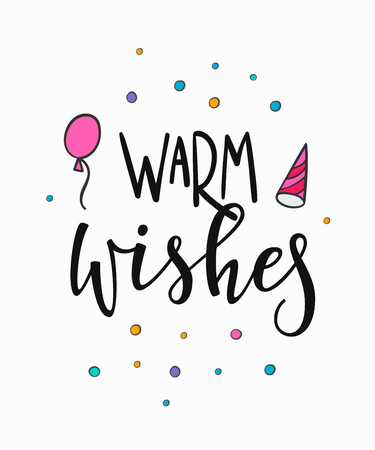 Congratulations Warm Wishes lettering sign quote typography. Calligraphy design for postcard poster graphics. Simple vector sign. Happy Birthday card colored element. Party decor cake confetti candle