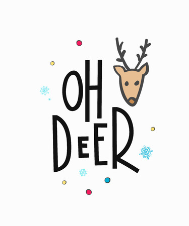 oh deer merry christmas happy new year simple lettering or calligraphy postcard or poster graphic design